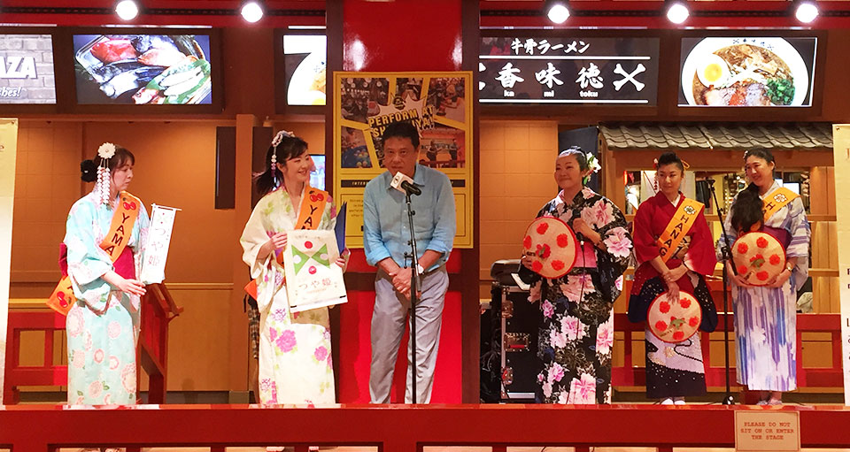つや姫のハワイの販売店・サンヌードルハワイ工場・副社長TakaoMoriokaさんと衣笠ガールズ